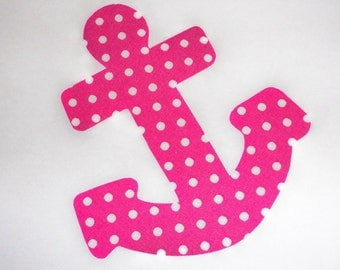 Iron On Fabric Applique Pink POLKA DOT Girl ANCHOR