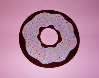 Iron On Applique CHOCOLATE DONUT With STRAWBERRY Frosting And Rainbow Sprinkles