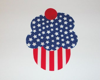 Iron On Fabric Applique Jyly 4th Stars And Stripes CUPCAKE