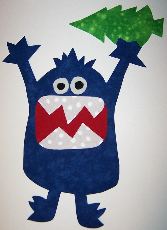 Iron On Fabric Applique BLUE MONSTER With Christmas Tree