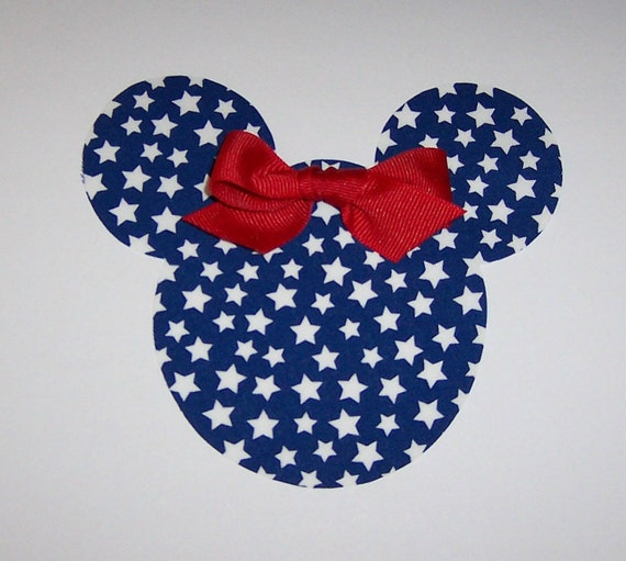Iron On Fabric Applique July 4th Stars MINNIE MOUSE With Red Bow