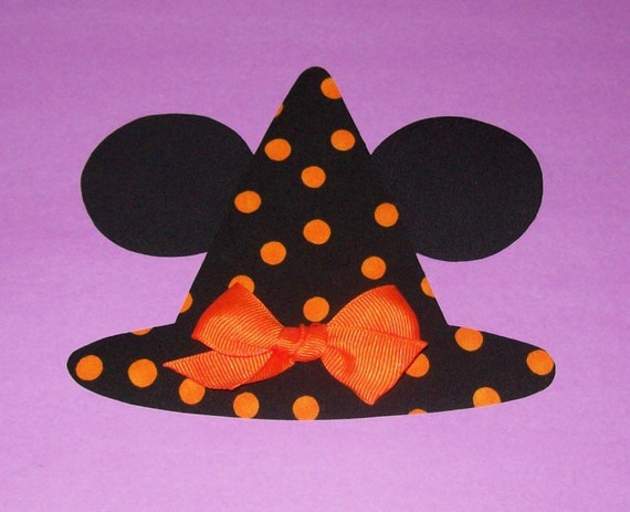 Iron On Fabric Applique MINNIE Mouse Ears WITCH HAT with Orange Bow.........Limited Availability