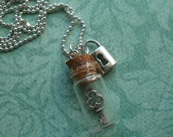 Adorable Glass vial bottle lock & key jar Necklace