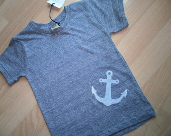 Kid's Eco-Friendly Heather navy blue Anchor screen print T shirt size 4T
