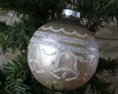 Vintage Christmas Mercury Glass Ornament Pale Pink Wedding Bells