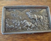 Vintage Elk Metal Belt Buckle 1960s or 70s Lovely