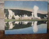 Vintage Post Card Giant Extra Large Geyser Hill YellowStone National Park 1950's Retro