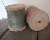 Vintage Wooden Spools or Bobbin  With Wax Thread Med Size Set of 2