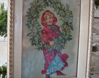 Vintage Christmas Picture Little Girl Adorable