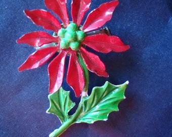 Vintage Christmas Enamel Pin Poinsettia Lovely