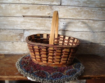 Vintage Rare Leather an Wood Handled Basket A Primitive  Must See
