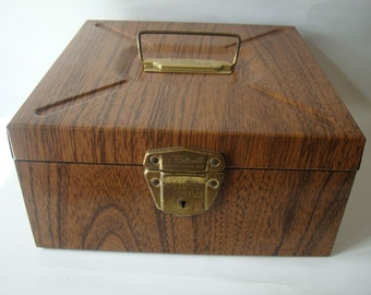 Vintage Industrial Small Brown Metal File Box