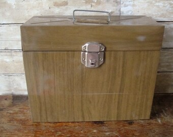 Vintage Industrial Brown Metal File Box