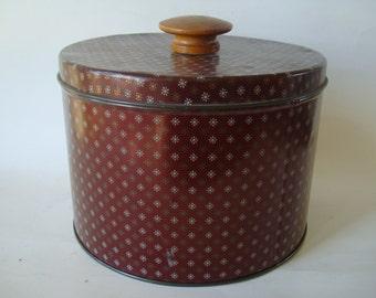 Vintage Tin Burgandy an Wood Knob