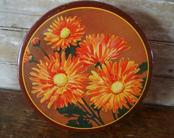 Vintage Decorative Orange Gerber daisy Tin Container Lovely Ornate