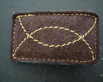 Vintage Dark Brown Suede Belt Buckle 1970s