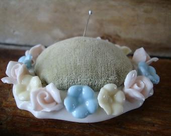 Vintage Pastel Rose Pin Cushion Porcelian