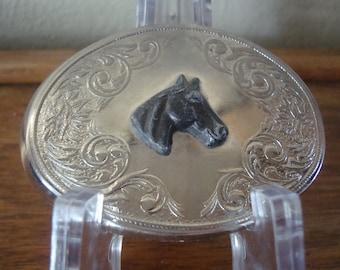 Vintage Silver Horse Head Belt Buckle