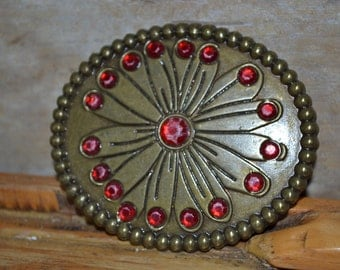 Vintage Brass With Red Jewels Belt Buckle