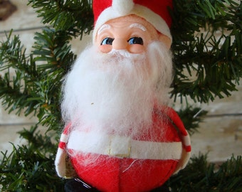 Vintage Felted Santa With Bell Ornament 1950s  Made In Japan