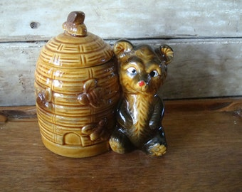 Vintage Beehive Honey Pot with Bear