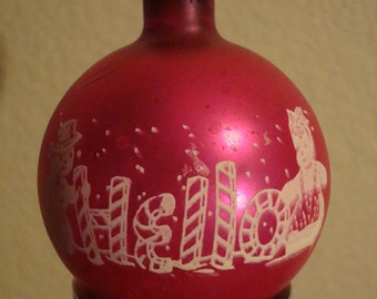 Vintage Pink Frosty Hello Embossed Ornament  Made In The USA