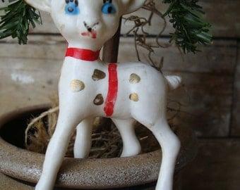 Vintage Christmas Plastic Reindeer White Ornament 1950s