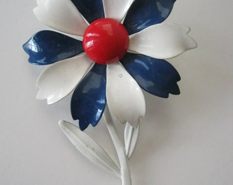Vintage Enamel Brooch Red White Blue 1960s or Earlier