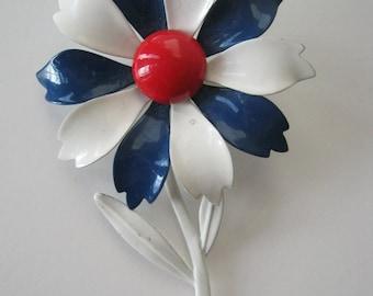 Vintage Enamel Brooch Red White Blue 1960s or Earlier