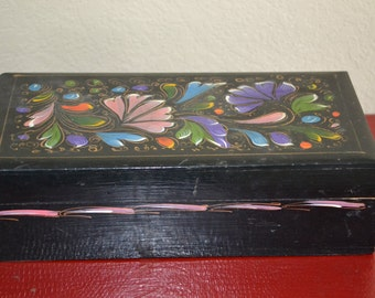 Vintage Wooden Box Black Painted Handmade Lovely Piece