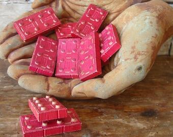 Vintage Wooden Red Building Block Pieces Set of 12 Adorable American Bricks