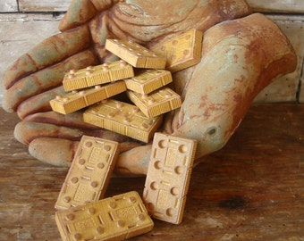 Vintage Wooden Gold Building Block Pieces Set of 12 Adorable American Bricks
