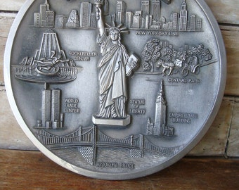 Vintage New York Souvenir Pewter Plate Lovely Piece Great Detailed Features