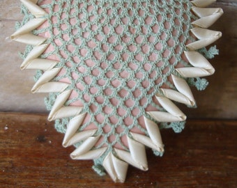 Vintage Pin Cushion Heart Pink Satin an Green Doily Crocheted Lace