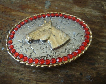 Vintage Buckle With Red Rhinestones and Horse Head Gold and Silver Plated