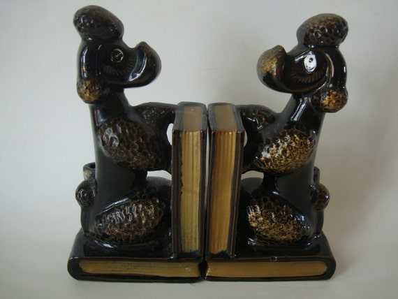 Vintage Bookends Brown an Gold Poodle