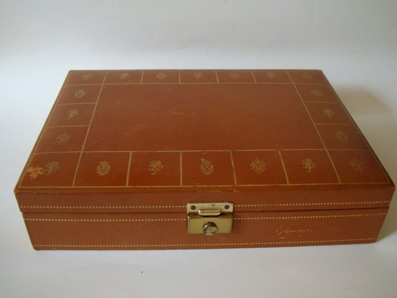 Vintage Valet or Jewelry Box For Men Leather Caramel