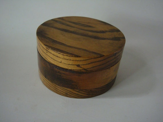 Vintage Wooden Round Box Various woods Box 1950s to 60s