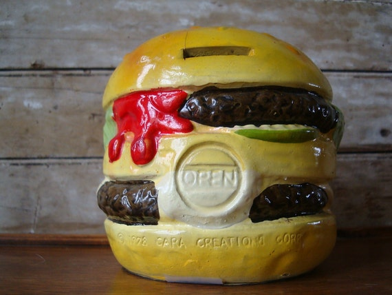 Vintage Hamburger Bank 1970s Ceramic For that Burger Lover in Your World