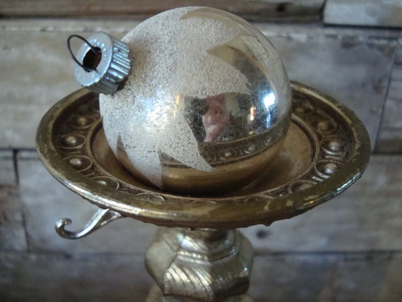 Christmas Silver Shiny Brite Mica Snow Capped Ornament Made In The USA