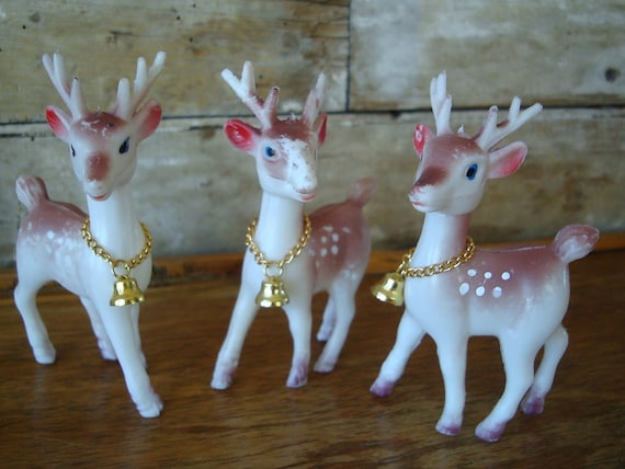 Vintage Trio of Primitive Christmas Plastic Reindeer White With Bell 1950s Hong Kong
