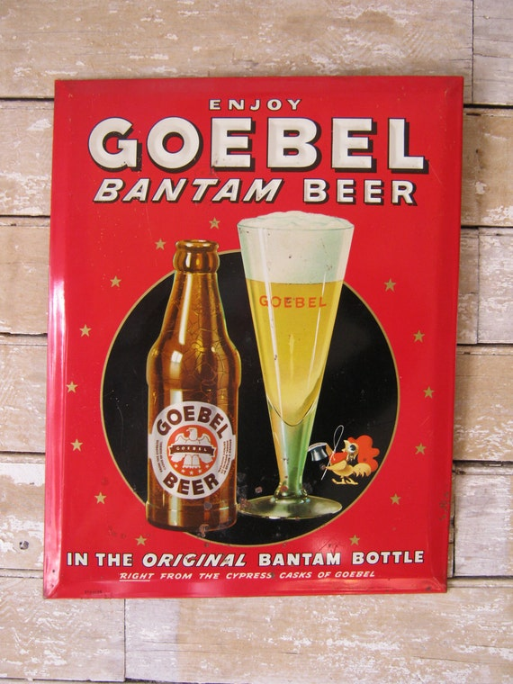 Vintage Goebel Bantam Beer Sign Detroit Michigan 1950s Unique Rare an Ready for A New Home