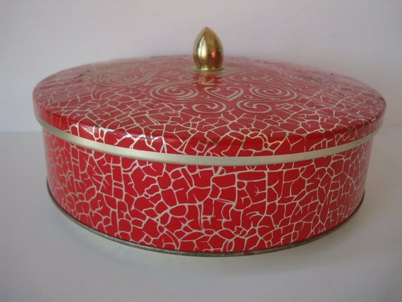 Vintage Biscuit Tin Made In England Red and Gold