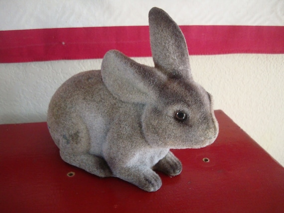 Vintage Easter Felted Bunny or Rabbit Bank1950s or 60s