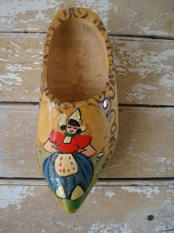 Vintage Wooden Shabby Chic Primitive Wooden Dutch Shoe Made In Holland