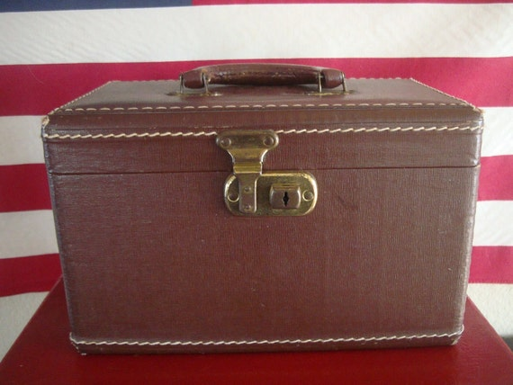 Vintage Leather Travel Train Makeup Case Chocolate Brown 1950s or 60s Gold Lining