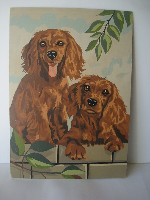 Vintage Paint By Number Painting Dogs Retriever Pups 1950's Retro