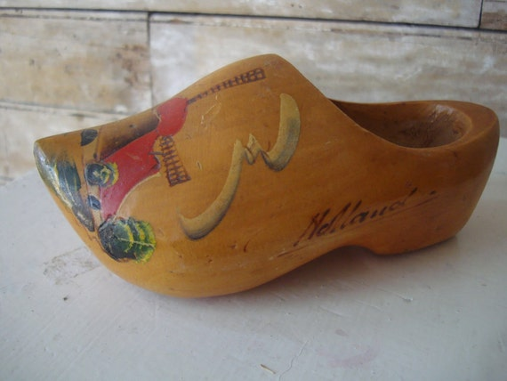 Vintage Wooden Dutch Holland Shoe Sweet Painted