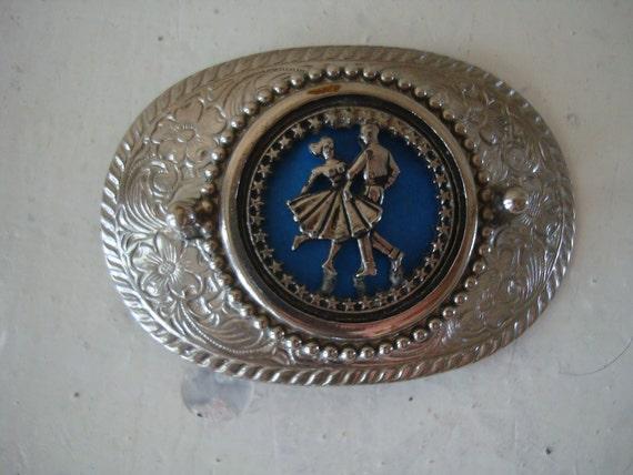 Vintage Belt Buckle Square Dancers Blue an Silver