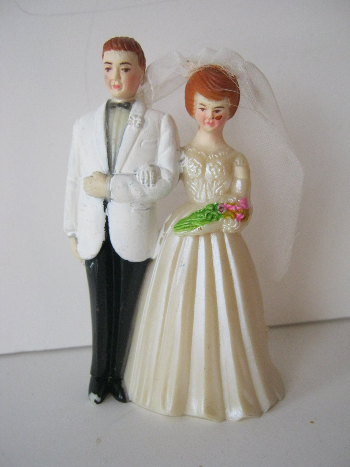 redhead wedding cake topper vintage and groom cake topper heads 1950 s or 19127